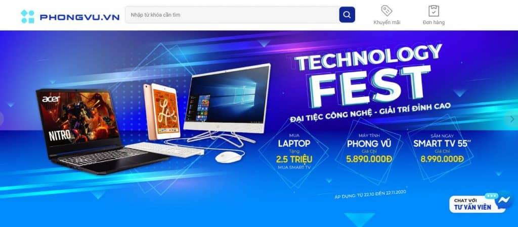 Laptop Phong Vũ thường có nhiều chương trình khuyến mãi lớn