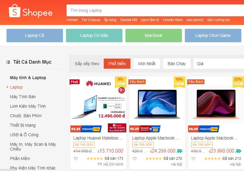 Mua laptop ở Shopee với giá rẻ vô địch