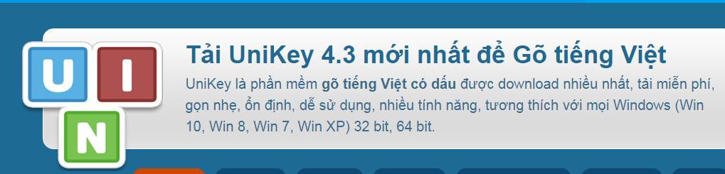 Phần mềm gõ tiếng Việt có dấu Unikey