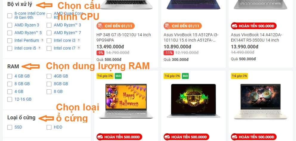 Chọn mua laptop theo cấu hình đã liệt kê ở bước 2