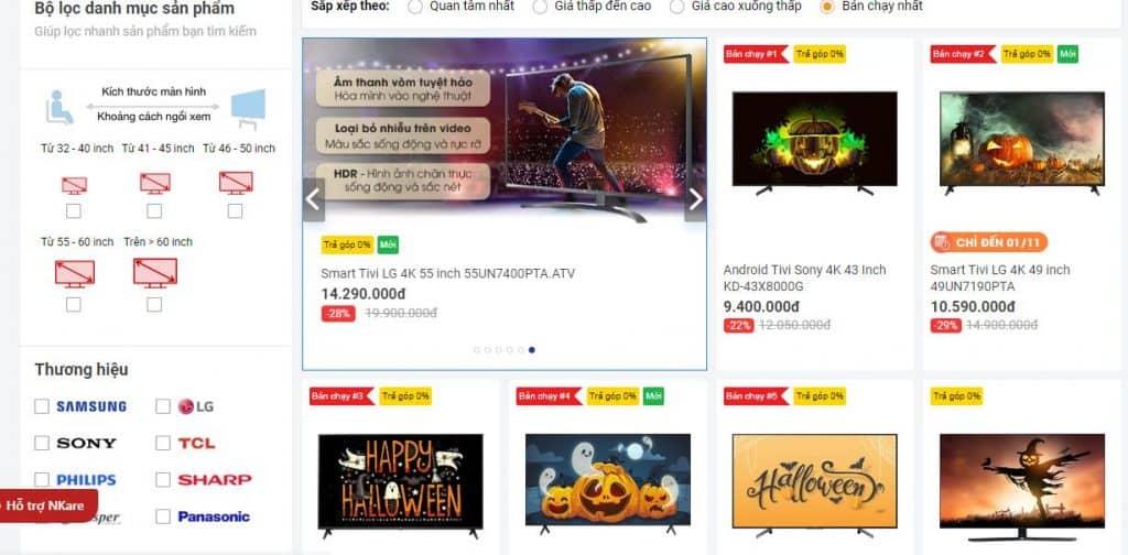 Mua tivi ở Website của Nguyễn Kim