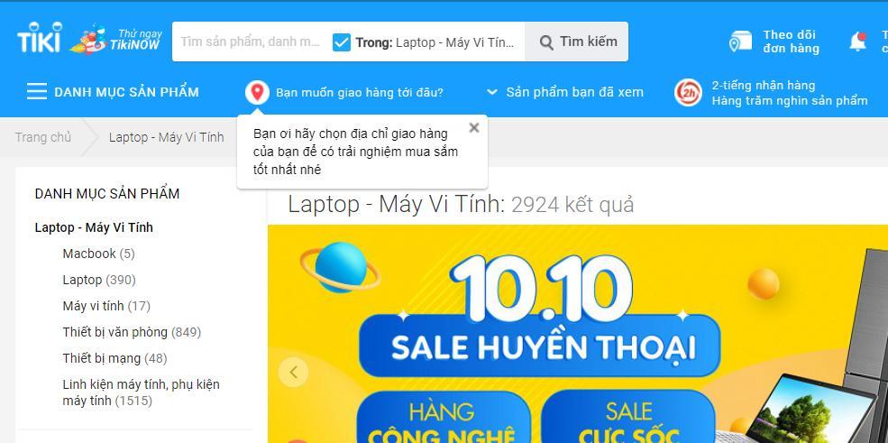 Mua laptop Online ở Tiki giá rẻ chất lượng