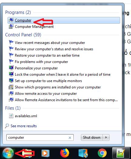 Sử dụng My Computer để xem dung lượng ổ cứng