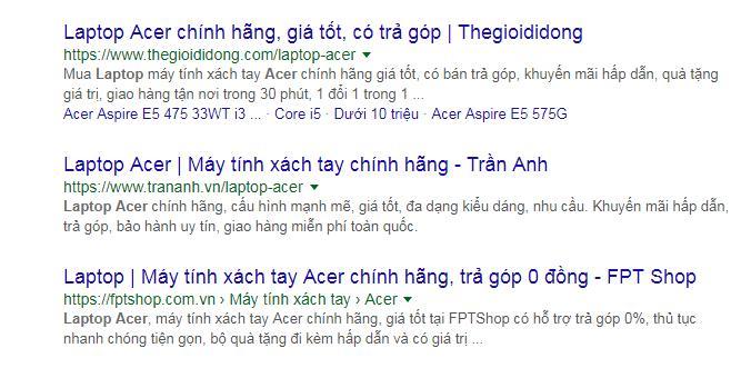Tìm địa chỉ mua laptop Acer uy tín trên Google