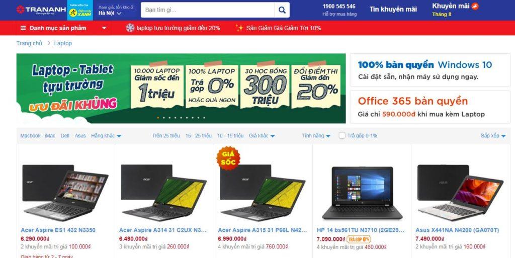 Mua laptop Online tại siêu thị điện máy Trần Anh