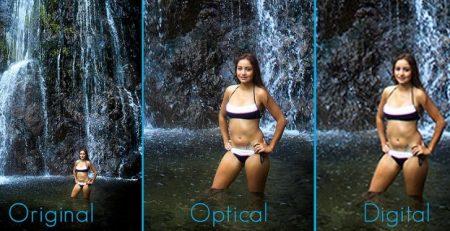 Hình ảnh Zoom số học ngoài cùng bên phải, Zoom quang học ở giữa và ngoài cùng bên trái là hình gốc